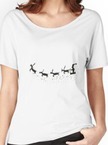 Sleigh Silhouette With Reindeer And Santa Women's Relaxed Fit T-Shirt