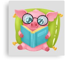 Molly the Micro Pig - Cute Reader Canvas Print