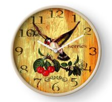 047 Wall Clock Colorful bird with cherries Clock