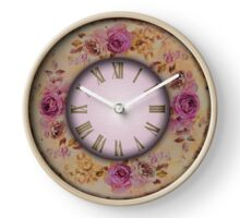 050 Wall Clock Pink Roses Clock