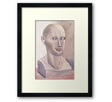 Phrenology Head Bust Sculpture Chalk Pastel Picture Framed Print