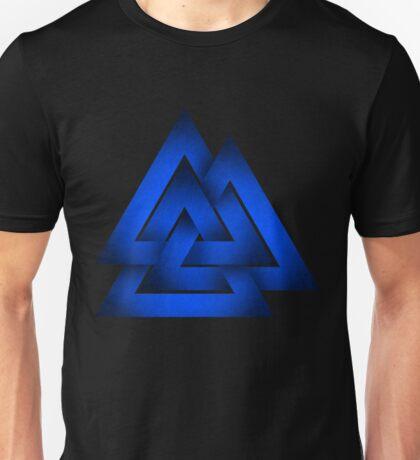 Norse Odin's Valknut - Blue Unisex T-Shirt