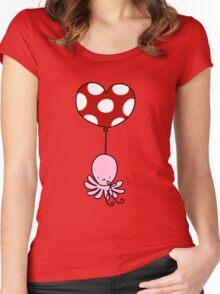 Heart Balloon Octopus Women's Fitted Scoop T-Shirt