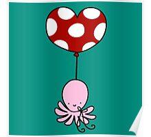 Heart Balloon Octopus Poster