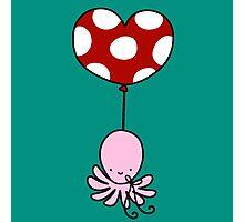 Heart Balloon Octopus Photographic Print