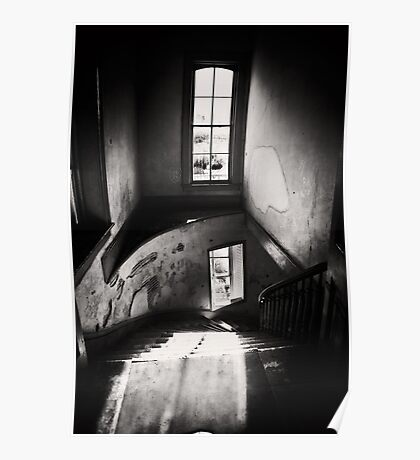 Black and white - ghost town winding staircase Poster