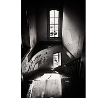 Black and white - ghost town winding staircase Photographic Print