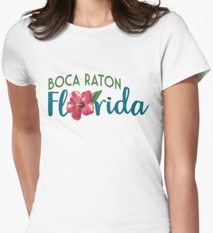 Boca Raton Florida T-shirt - Hibiscus Flower Womens Fitted T-Shirt