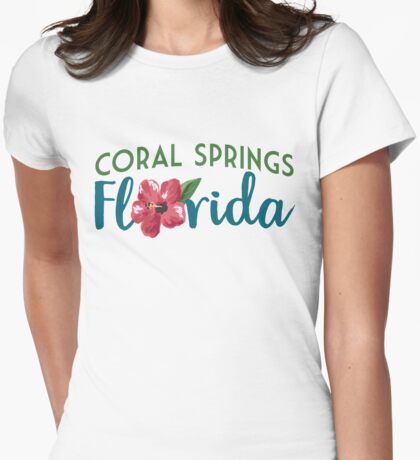 Coral Springs Florida T-shirt - Hibiscus Flower Womens Fitted T-Shirt