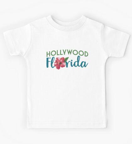 Hollywood Florida T-shirt - Hibiscus Flower Kids Tee