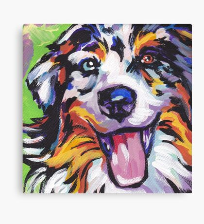 Australian shepherd Aussie Bright colorful Pop Art Canvas Print