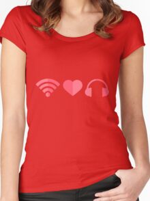 wifi-love-music Women's Fitted Scoop T-Shirt