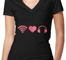 wifi-love-music Women's Fitted V-Neck T-Shirt