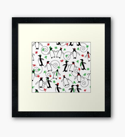 Penguins Putting on the Holiday Ritz Framed Print
