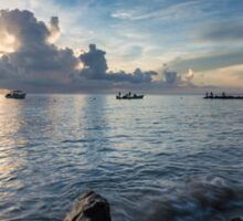 Boats in the Caribbean Sea at Sunset Sticker