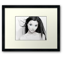Cute anime girl with big blue eyes artistic portrait art photo print Framed Print