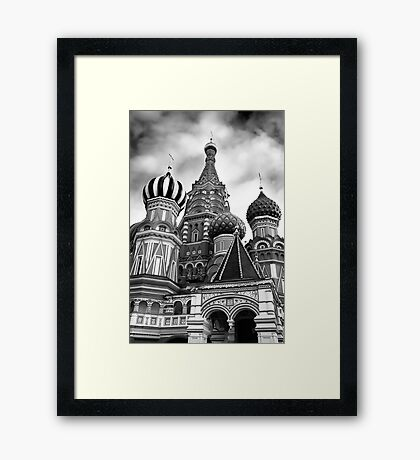 St Basils Cathedral in Moscow Russia Black and white art photo print Framed Print