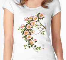 Vintage Japanese Cherry Blossoms, Pink and Gold Women's Fitted Scoop T-Shirt