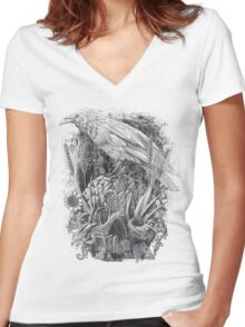 White Raven Women's Fitted V-Neck T-Shirt