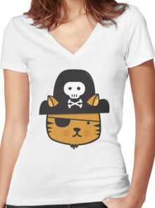 Pirate Cat - Jumpy Icon Series Women's Fitted V-Neck T-Shirt