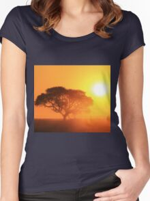 Camel Thorn Tree - African Sunset Tranquility  Women's Fitted Scoop T-Shirt