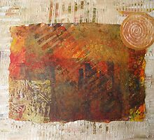 Urban Autumn - collaged mixed media by Heather Holland by Heatherian