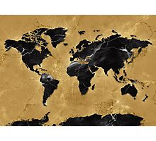 world map gold 4 Photographic Print