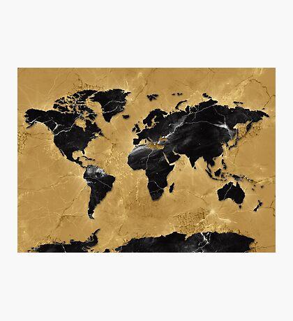 world map gold 4 Photographic Print