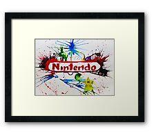 Nintendo Watercolor Splash Art Framed Print