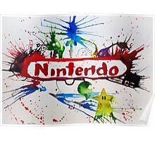 Nintendo Watercolor Splash Art Poster