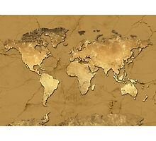world map gold 5 Photographic Print