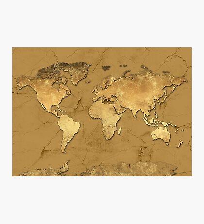 world map gold 5 Photographic Print