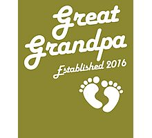 Great Grandpa Established Est 2016 Photographic Print