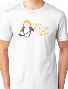 Crazy (ICE HOCKEY) Penguin Lady Unisex T-Shirt