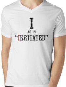 Irritated T-shirt - Alphabet Letter Mens V-Neck T-Shirt