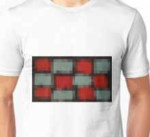 red and blue pixel abstract with black background Unisex T-Shirt