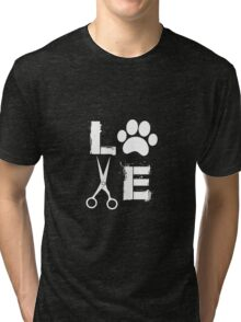 Love Dogs Dog Groomer Paw Print Grooming Tri-blend T-Shirt