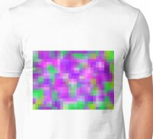 pink purple and green pixel abstract background Unisex T-Shirt