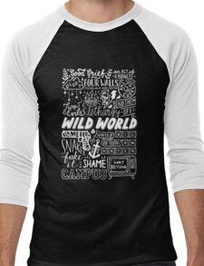 WILD WORLD - SONG TITLES (DARK) Men's Baseball ¾ T-Shirt
