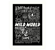 WILD WORLD - SONG TITLES (DARK) Art Print