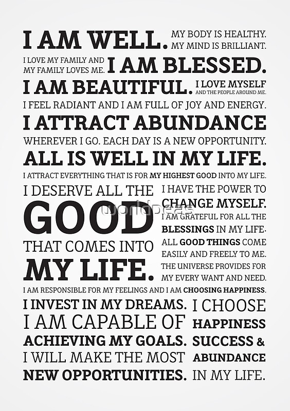 Quot Positive Affirmations Black On White Grey Quot Posters By