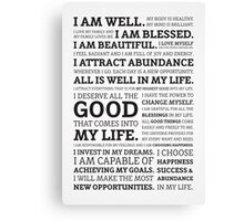 Positive Affirmations (Black on White/Grey) Canvas Print
