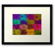 blue purple yellow green pixel abstract background Framed Print