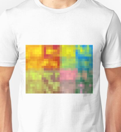 colorful pixel abstract background in red orange yellow green blue and pink Unisex T-Shirt