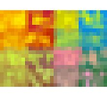 colorful pixel abstract background in red orange yellow green blue and pink Photographic Print