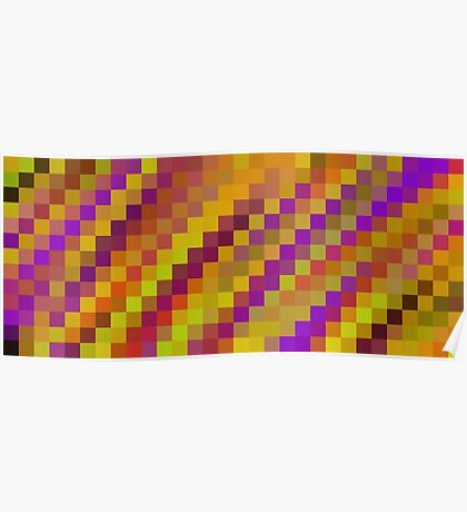 purple yellow brown orange pixel abstract background Poster