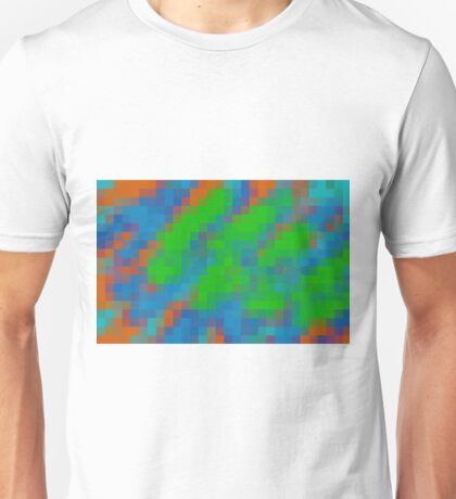 green blue and orange pixel abstract background Unisex T-Shirt