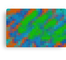 green blue and orange pixel abstract background Canvas Print