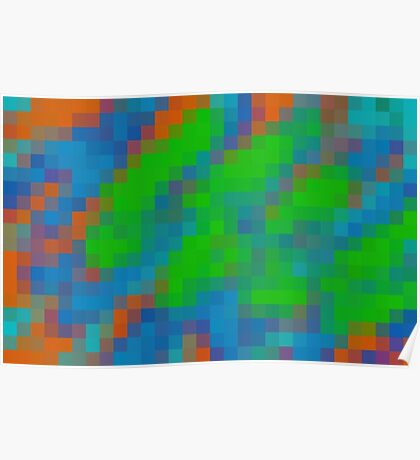 green blue and orange pixel abstract background Poster