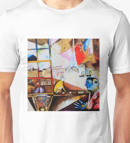 Paris through the Window - Tribute to Chagall Unisex T-Shirt